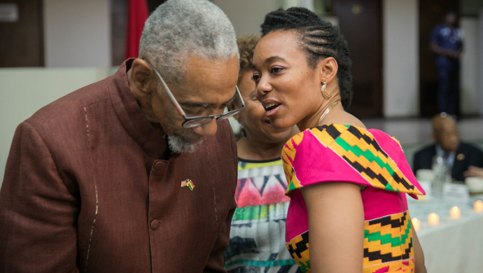 image of Zanetor Agyeman-Rawlings talking to American politician Bobby Rush
